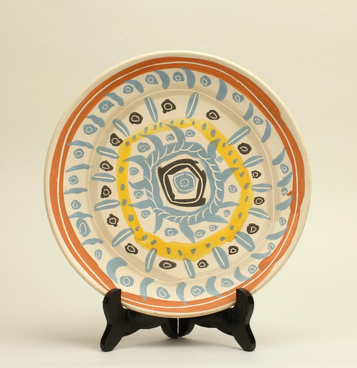 Pablo Picasso, Spanish (1881-1973), Motif Spirale partially glazed ceramic plate,