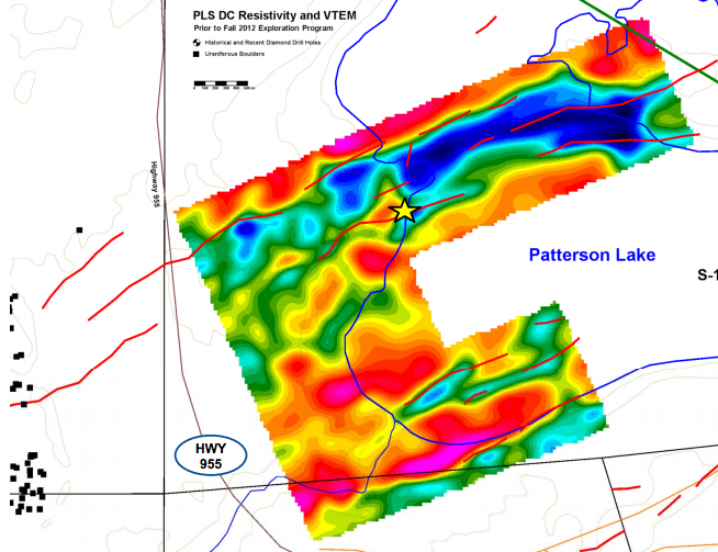 VTEM geophyiscal survey of the PLS claims. Note Discovery Hole 22 marked by the star, and the boulder field to the southwest.