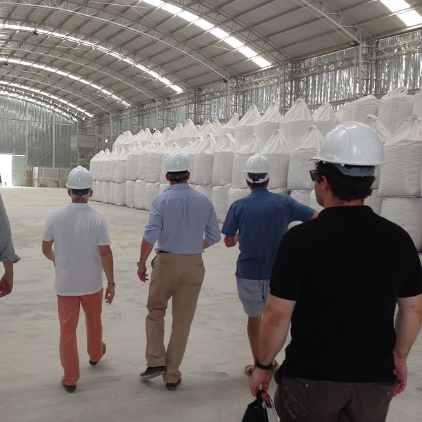 Frank Giustra, Michael Felsmann, and Fino Iacono visit Lime warehouse of Pacific Stone in Cartagena, Colombia, March 2013
