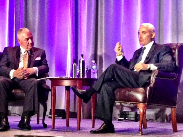 Peter Legge and Frank Giustra on stage at the 2013 BCBusiness Top 100