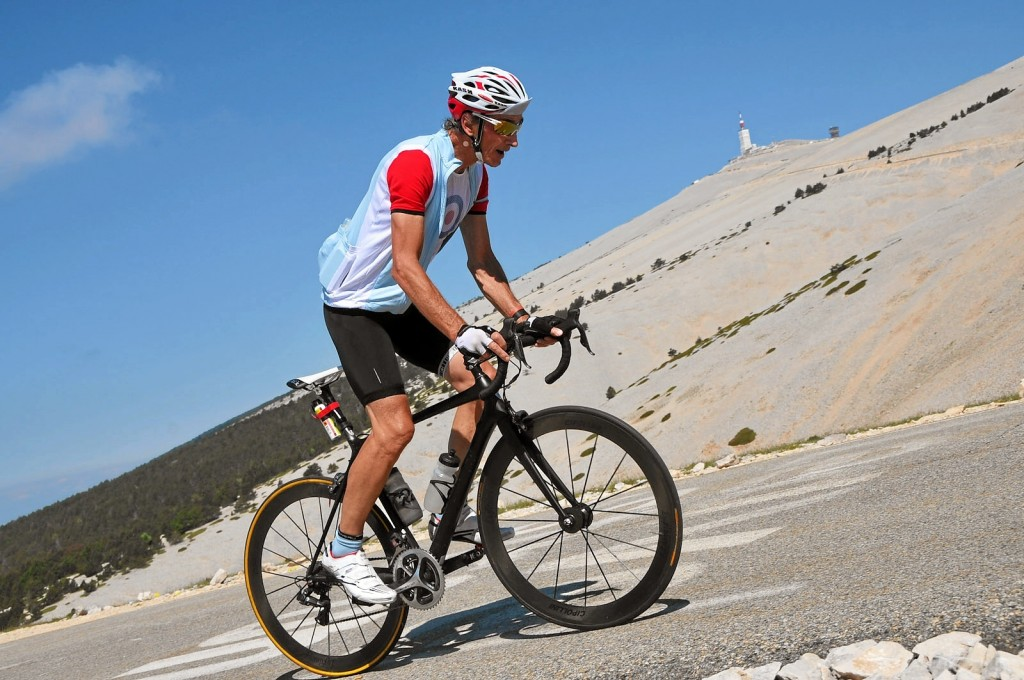 Mr. Flood cycling up Mt. Ventoux in Monaco