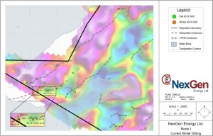 Western Rook 1 claims, winter drilling 2014 (gravity background) (Image: NexGen Energy)
