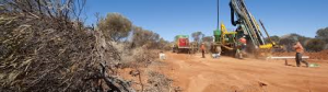 RAB drilling is a cost effective exploration tool for shallow mineralized targets (Image: Layne)