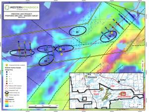 Drill plans for the 2014 campaign on the Swoosh target (Image: Skyharbour Resources Ltd.)