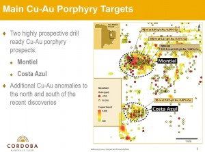 There are two main targets on the project: Montiel and Costa Azul (Source: Cordoba Minerals Corp.)