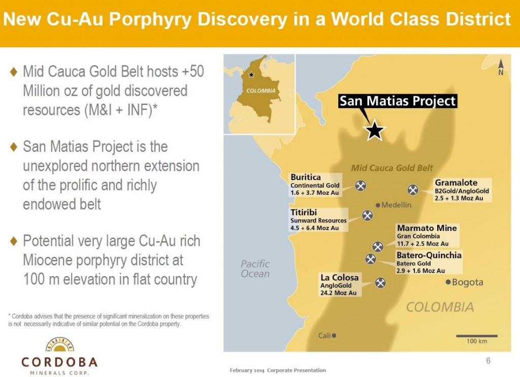 The Mid-Cauca belt hosts +50 million ounces of gold (Source: Cordoba Minerals Corp.)