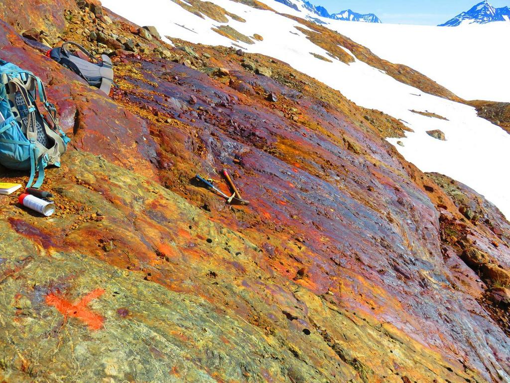 Red Mountain is named after the red colour of its rocks formed by the oxidization process of sulphides there (Image: IDM Mining)