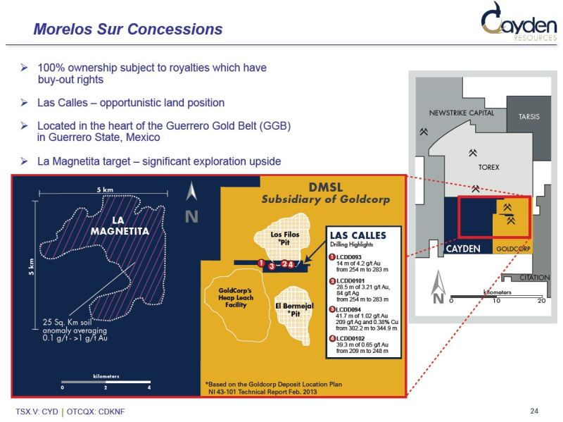 Las Calles may be restricting Goldcorp from accessing millions of ounces of gold between its two open pits (Image: Cayden Resources)