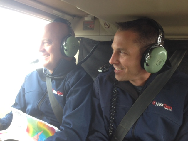 NexGen CEO Leigh Curyer, and VP of Exploration Garrett Ainsworth flying above Arrow during a September 2014 site visit (Photo:CEO.ca)