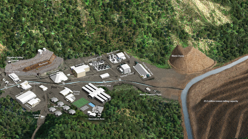 Future site plan at Buritica showing the location of the $188 million process plant and tailings facilities (Image: Continental Gold Ltd.)