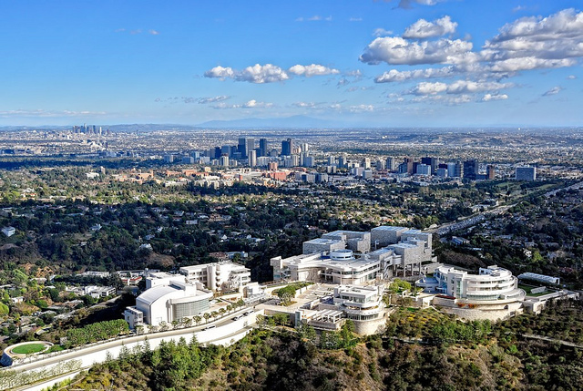 The Getty Museum overlooks Los Angeles and the Pacific Ocean (John Bahu, Flickr)