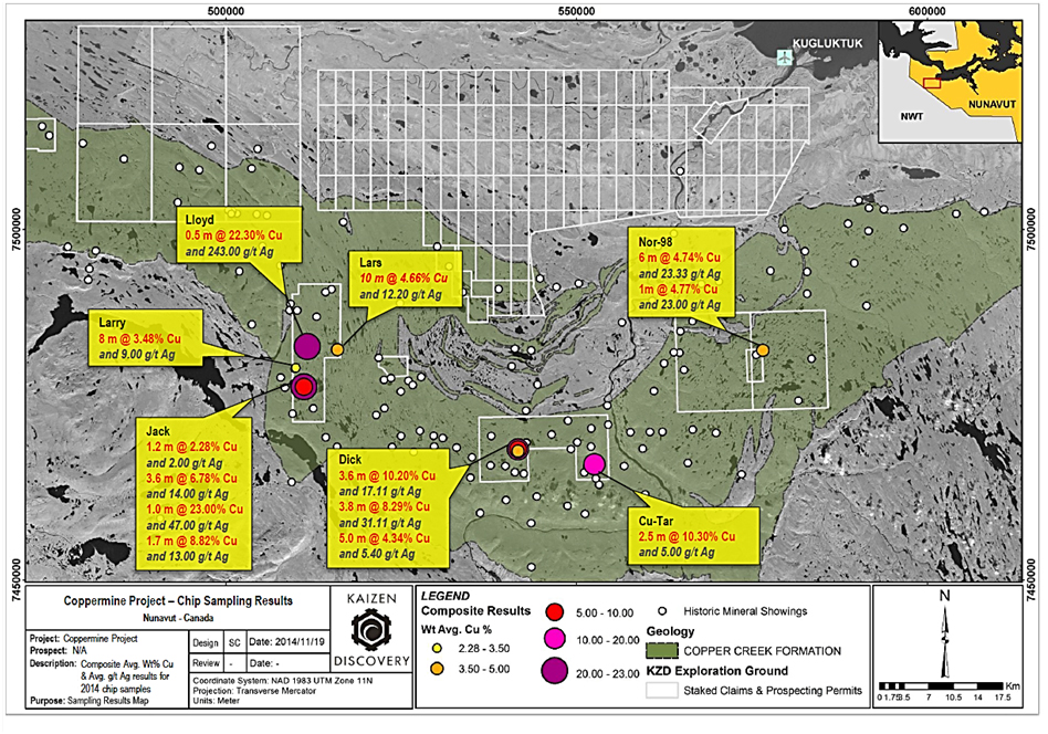 Chip sampling results and claim map for Kaizen's recently acquired Coppermine Project (Image: Kaizen Discovery)
