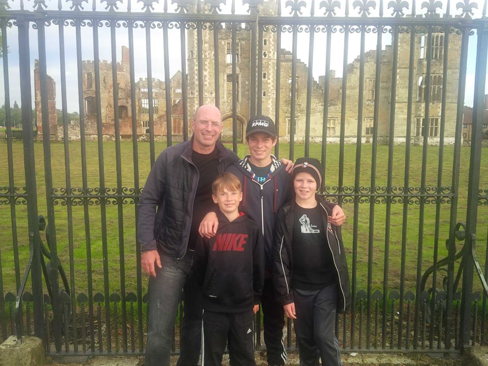 Mining executive Michael McPhie and his sons in the UK - Summer 2014