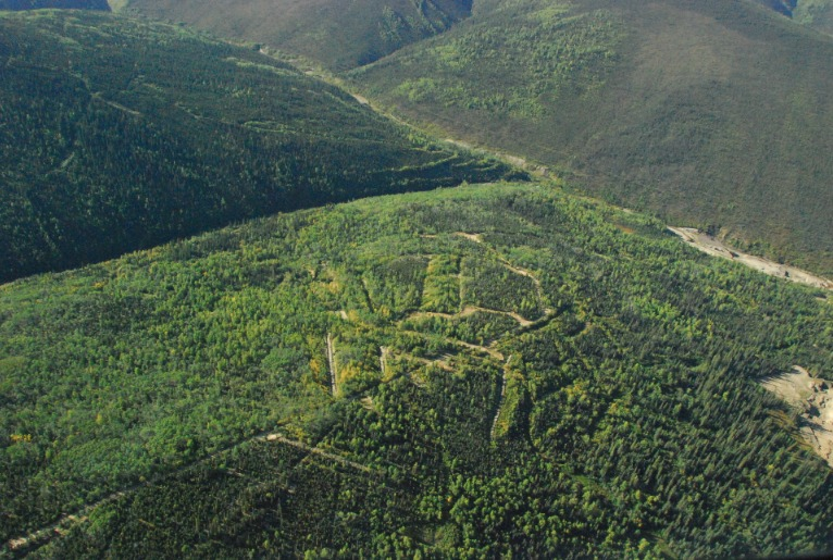 Aerial shot of trenches at KG's property near Dawson City, Yukon (KG photo)