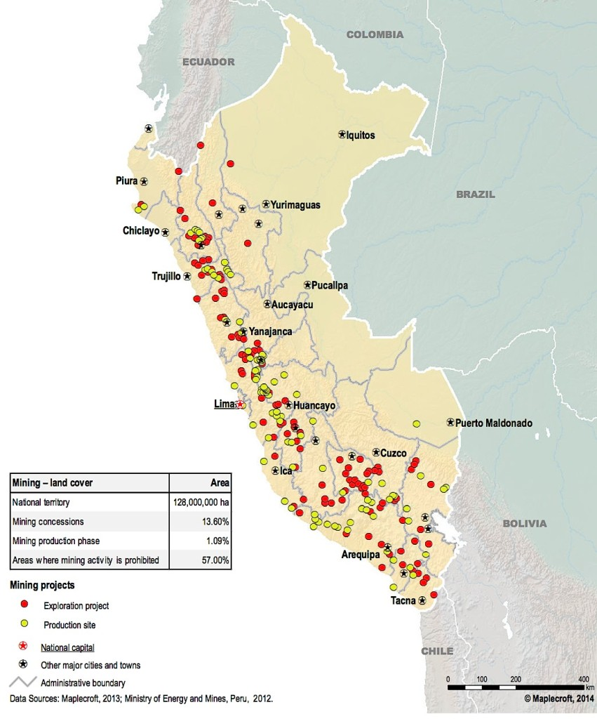 Peru mining and exploration map