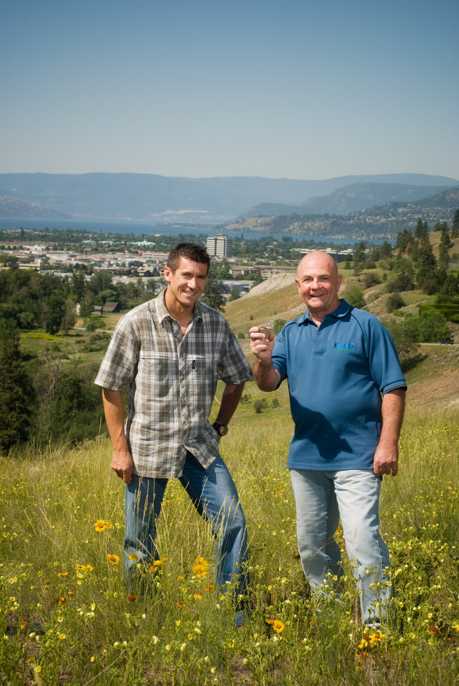 Northern Uranium CEO Chad Ulansky (left) and geological consultant and investor Chuck Fipke, in Kelowna, British Columbia. Credit: Northern Uranium