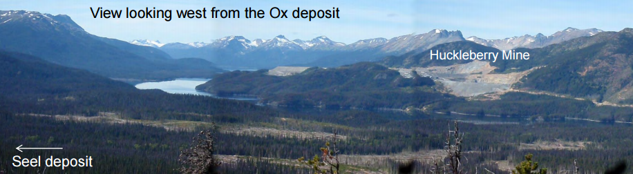 Ootsa property with Huckleberry Mine in the distance. Photo: Gold Reach Resources