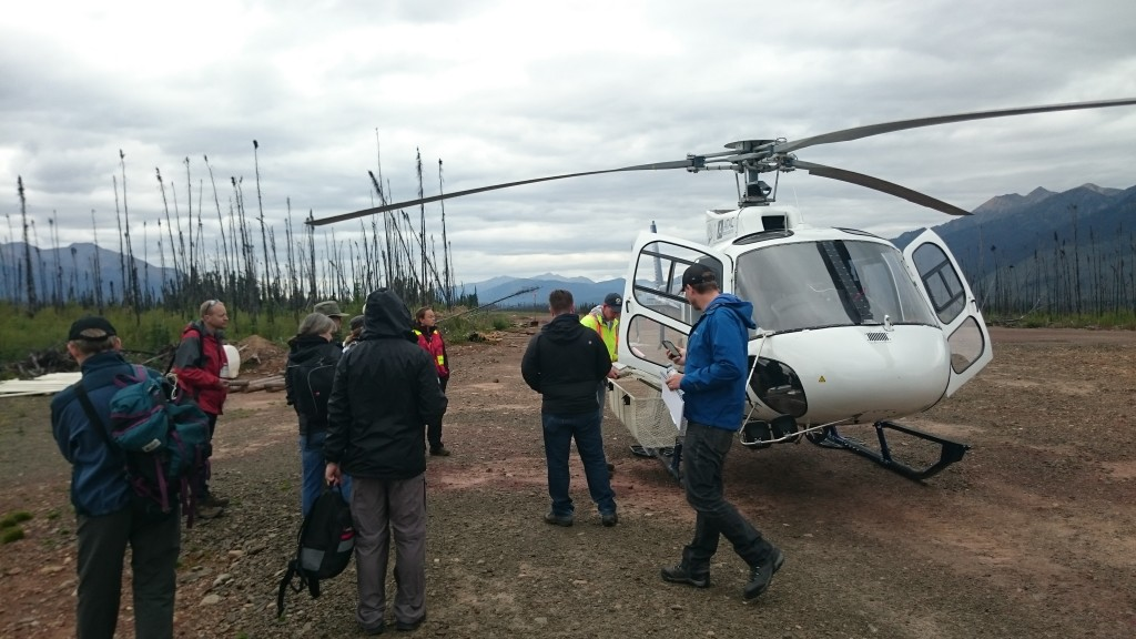 Chopper pilot providing a safety briefing. To fly a chopper in the Yukon is $1500/Hr all-in costs!!