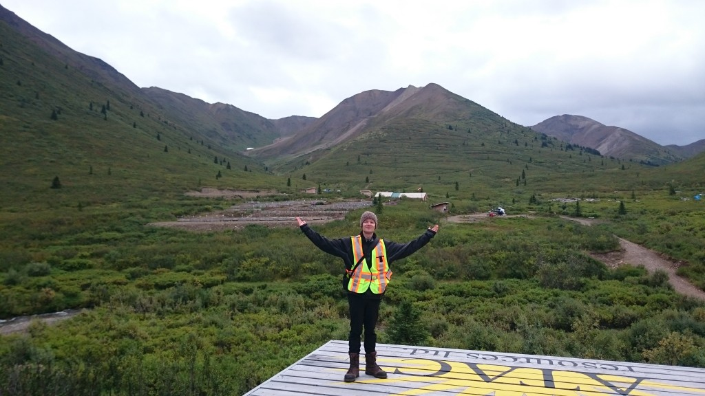 Shameless pose on ATAC's heli pad. Above my right hand is the ridge which on the other side is the Conrad zone, part of the Osiris cluster, a Carlin-type high grade gold discovery (Ex. Best hole – OS-12-114; 42.93m of 18.44 g/t Au)