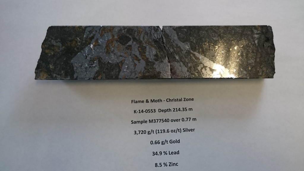 Alexco's uber high grade Flame & Moth – Christal Zone core – 3,720 GPT Ag over 0.77m. Don't make the mistake I made believing this is native silver, what you are viewing is the element galena, a look alike!