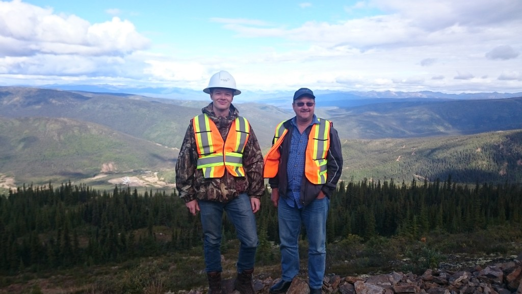 John Mcconnell, P.Eng, CEO & President and myself atop the Eagle Gold Project. Victoria Gold camp is to the left on the valley floor.