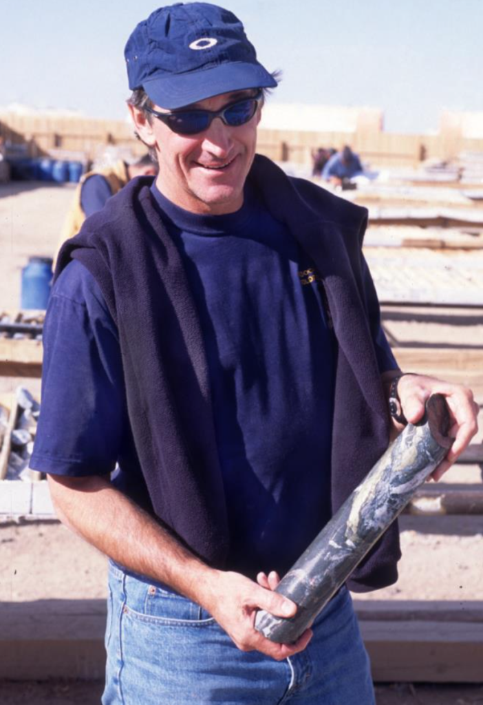 Ed inspecting Oyu Tolgoi discovery core in 2001 after rejoining Ivanhoe's executive team.