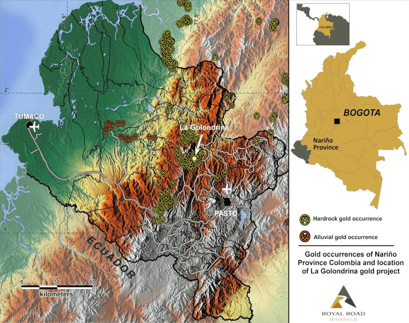 Where the Golondrina project is located in Colombia