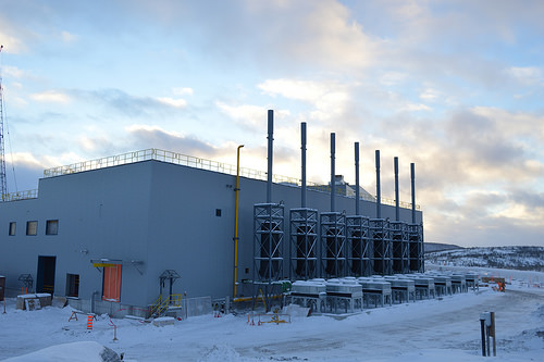 Exhaust stacks at Stornoway's Renard LNG power plant. Construction of the Quebec diamond mine is about 53% complete. Stornoway Diamonds photo