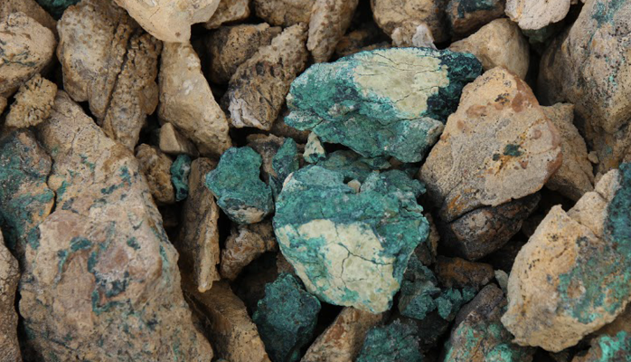 Mineralized boulders at Aston Bay's Storm project in Nunavut.